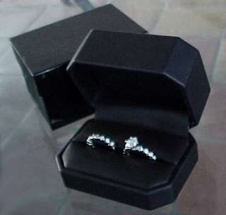 Deluxe OCTAGONAL Cut Corner Black Leather RING Gift Box