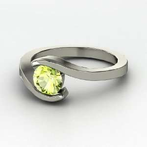 Ocean Ring, Round Peridot Sterling Silver Ring Jewelry