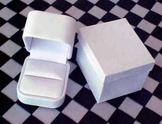 NEW White LEATHER High End Jewelry RING Gift Box