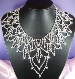 Drag Queen Jumbo Crystal Necklace Earrings Set S1145
