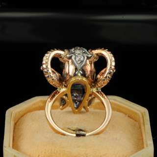 RARE VTG DIAMOND HORNED SKULL RING   FREE EU P&P