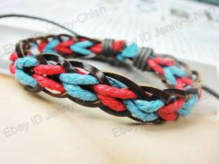 Wholesale Women Colorful Knitted Leather Wristband Bracelet LB_87