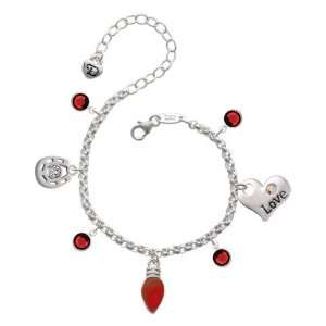 Translucent Red Resin Love & Luck Charm Bracelet with Siam Jewelry