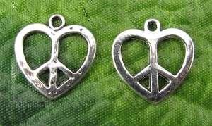 40pcs Tibetan Silver Hearts Peace Sign Charms Pendants &free ship