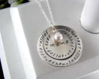 Sterling Silver Stamped Love MOM Grandmother MOMMY Necklace 2 Layer
