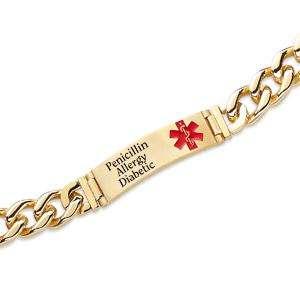 Mens Medical Engraved Gold Stainless Steel ID Bracelet