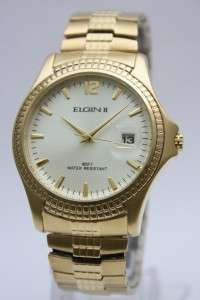 Elgin II Men Gold Expansion Band Dress Watch Date 40mm FCT022