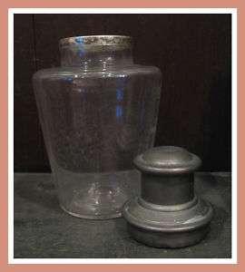 Vintage Glass Art Deco Cocktail Shaker Silver Top