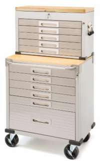 New Large 5 Drawer Tool Chest Stainless Steel Wood Top Toolbox Box 28