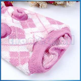 Dog Puppy Pet Knit Turtleneck Sweater Clothing Pink S