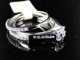 LADIES WHITE GOLD GENUINE DIAMOND BRIDAL TRIO RING SET