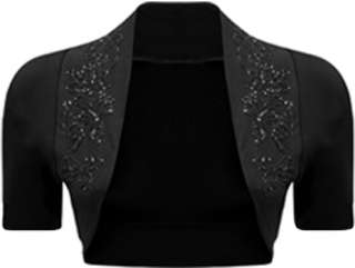 New Ladies Beaded Shrug Womens Short Sleeved Bolero Top