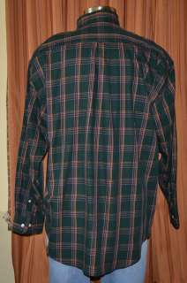 GREEN RED YELLOW COTTON PLAID BUTTON DOWN SHIRT MENS XXL NWT