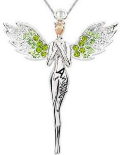 Crystal Guardian Angel Platinum Plated Pendant Necklace