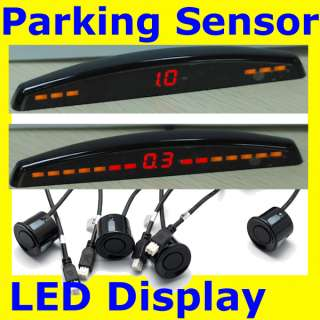 Car Parking LED Display Reverse Backup Radar Reversing 4 Sensor Kit