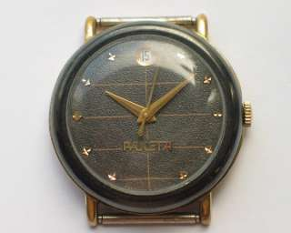 AWESOME RUSSIAN RAKETA WATCH GILT/BLACK CASE. DATE@12