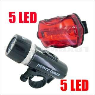Waterproof 5 LED Torch Bicycle Bike Head Light + 5 LED Rear Flashlight