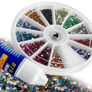 1800 Nail Art Tips Glitter Rhinestone Decoration+Wheel