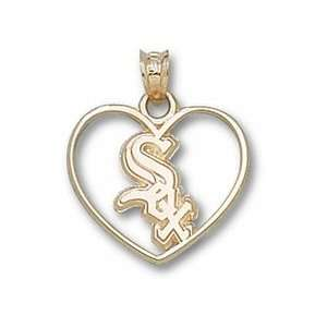 Chicago White Sox Sox Heart Pendant   14KT Gold Jewelry Jewelry