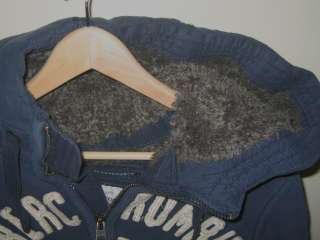 NEW Abercrombie Fitch Mens Wolf Jaw Jacket Navy   Dark Blue Faux Fur