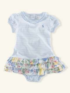 Stripe Floral Ruffle Dress   Layette Dresses & Rompers   RalphLauren
