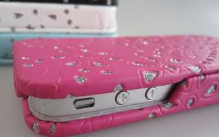 iPhone 4S iPhone 4 Leather Diamote Flip Case Cover Pouch bling diamond