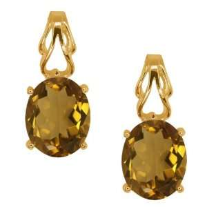 3.20 Ct Oval Whiskey Quartz 18k Yellow Gold Earrings