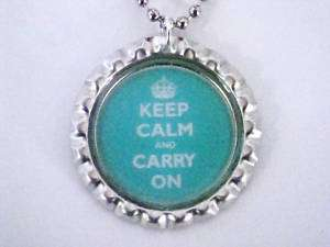 BLUE KEEP CALM AND CARRY ON BOTTLE CAP NECKLACE NEW