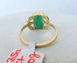 14 K SOLID GOLD EMERALD & DIAMOND GEMSTONE RING INDIA