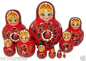 Bright Red and Gold Colors. Set of Ten Russian Nesting Dolls.