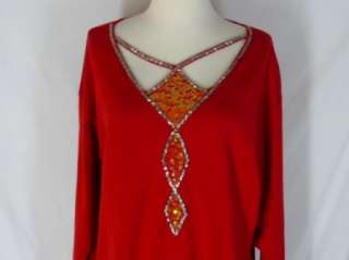Bob Mackie Wearable Art Red Knit Top L Sequins Beads