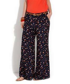 Blue Pattern (Blue) Parisian Navy Heart Print Palazzo Trousers