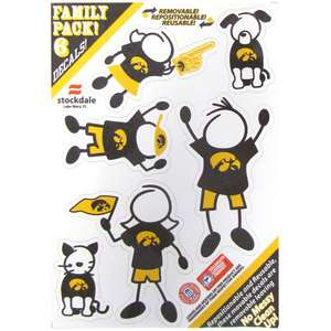 IOWA HAWKEYES Logo NCAA 6 Pack 5x7 FAMILY Car Decal Set Small NEW