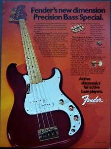1980 Fender Precision Bass Special vintage music ad