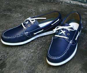 PREMIUM Mens Genuine Leather Boat Shoes SS037 Blue