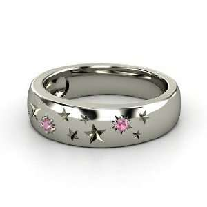 Written in the Stars Ring, 14K White Gold Ring with Pink