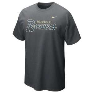 Brewers Charcoal Heather Nike Slidepiece T Shirt
