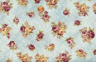 SALE   MARY ROSE COLLECTION PINK ROSES ON BLUE QUILT FABRIC
