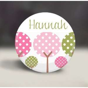 Green Polka Dot Trees, Gift, Girls Party Favor, gift, compact mirror