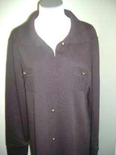 Nina Leonard Button Front Shirt Dress w/Pocket Detail S