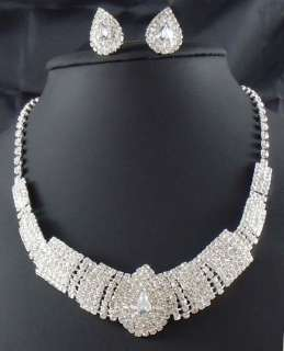 edding/Bridal Rhinestone crystal necklace earring Sliver Jewelry set