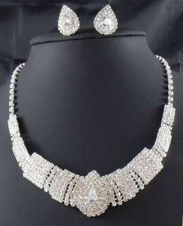 edding/Bridal Rhinestone crystal necklace earring Sliver Jewelry set