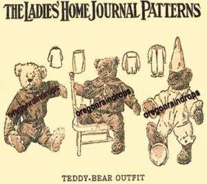 Antique Teddy Bear Clothing Pattern Circa 1905 Vintage