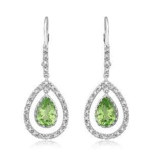 White Gold Peridot With Diamond Earrings (SI2 I1 clarity, G I color