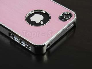 For iPhone 4S 4G Pink Chrome Luxury Steel Hard Cover Case+Stylus