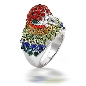 Tone Multi Color Rhinestone Parrot Cocktail Ring Size MORE SIZES   10
