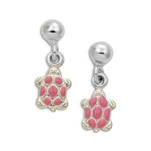 Sterling Silver Pink Enamel Turtle Stud Post Earrings