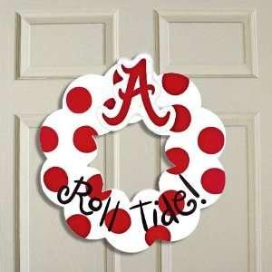 Alabama Crimson Tide White Crimson Polka Dot 20 Wooden