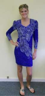 VINTAGE 80S GLAM SILK BEADED AND SEQUINS EVENING COCKTAIL DRESS SZ 4