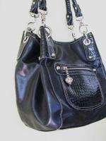 KATHY VAN ZEELAND Black Faux Croc Leather Satchel Shoulder Bag Medium
